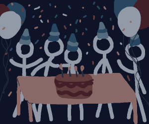 stick figures having a party