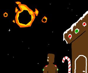Comet vs a gingerbread house