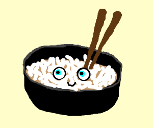 Chopsticks in a bowl of rice that's alive