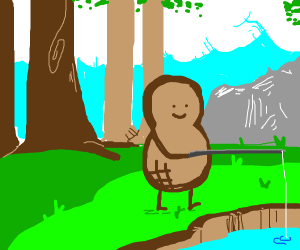 Peanut man fishes in the forest
