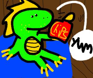 Dinosaur eating chips