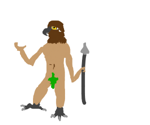 naked man with eagle head