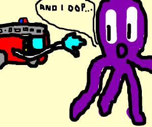 Fire truck spraying a giant alien squid