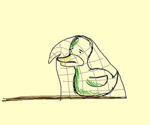 Sad duck stuck in net