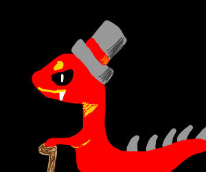 Antichrist dinosaur with a top hat