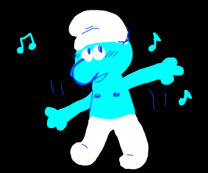 A happy Smurf dancing with no shirt on