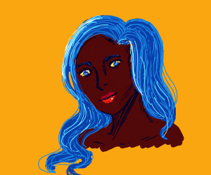 Smiling black girl with long blue hair