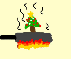 frying up the christmas tree