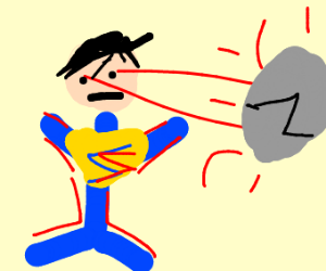 Superman uses his eye lazer powers on a rock