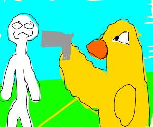 Big-bird holding a hostage at gunpoint