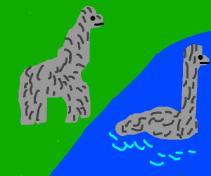dinosaurs near water hole (one bathing)
