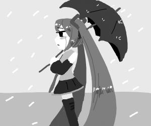 Sad Hatsune Miku in the rain