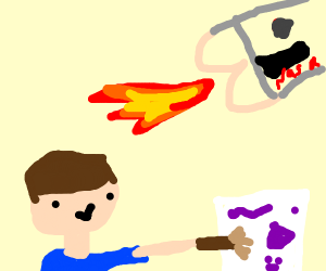 A guy painting in space with an ass-rocket