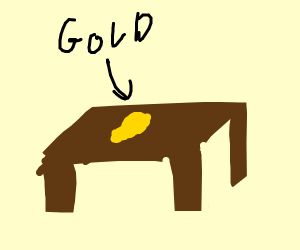 Gold Nugget on a Table