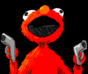 Elmo with two guns bout to shoot up a place