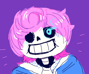 sans grows hair and dyes it pink