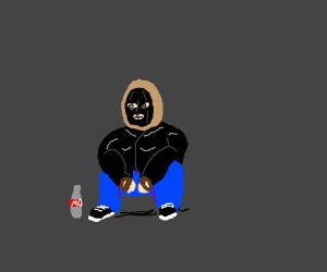 Russian man squatting
