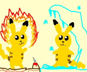 Two pikachu but one is fire and the other ice