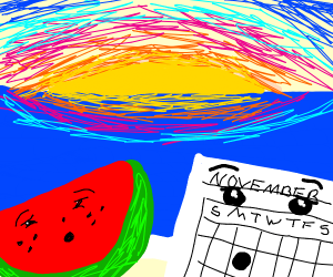 Calendar and watermelon staring at sunset