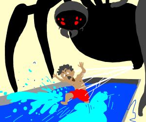 Spider preys on swimming boy