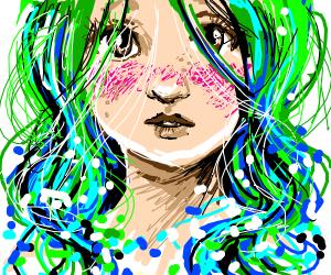Blushing girl with blue/green hair