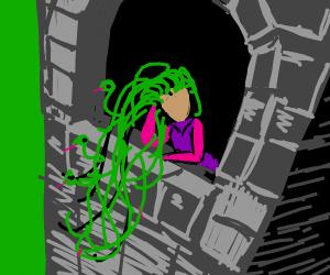 Rapunzel in tower evil hair