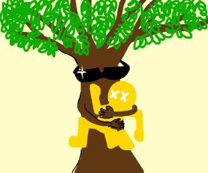 Bro tree holding a yellow man