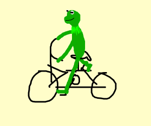 Kermit the Frog riding a bicycle