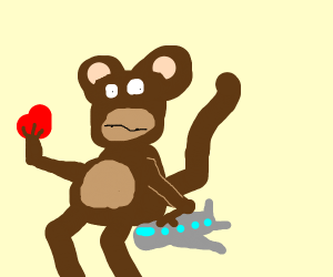 Monkey in airplane only has one heart left