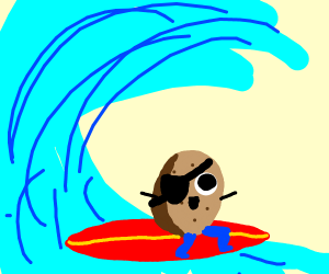 One eye potato with blue legs surfing