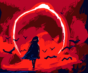 Demonic girl in front of red surrounded Birds