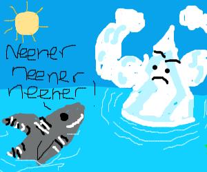 Zebra shark taunts buff ice berg