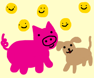 Wholesome pig and doggo friends