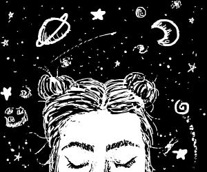 Girl Imagining Celestial Objects