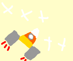 Candy corn space shuttle taking off