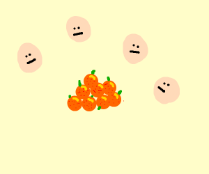 Group of happy heads claims a pile of oranges