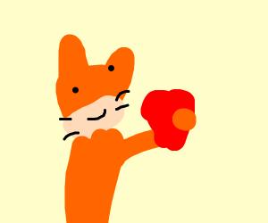 cat grabbing a heart
