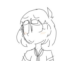 Blushing anime girl with bob hair