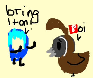 """Drawception D says """"BRING IT ON!!!"""" to quails"""
