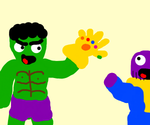 the hulk steals thanos' gauntlet