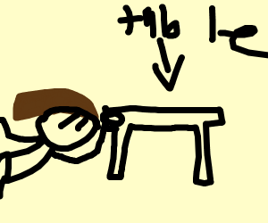 Girl cleans under the table