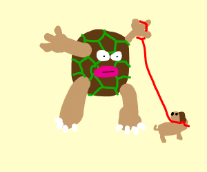 rock golem with the face of jynx walks a dog