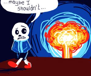 Sans doubtfully walks away from explosion