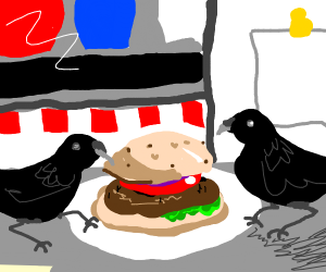 crows sharing a burger