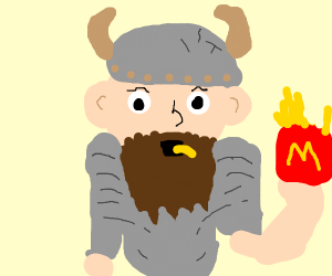 A bearded warrior eating, french fries?