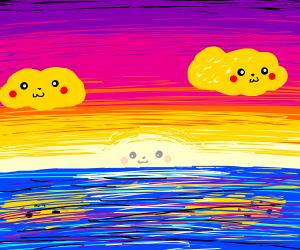 Pikachu Sunset