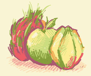 apple, star fruit and pitaya