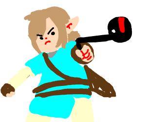 Link uses Otamatone as a sword