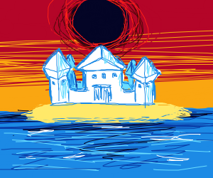 Black Hole over Castle on Ocean