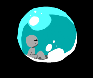 A guy relaxing in a bubble